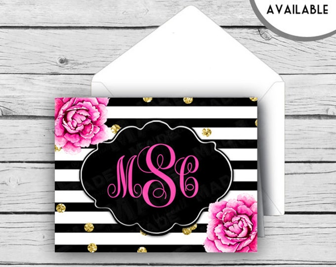 Script MONOGRAM Note Card Set - Pink Peonies, Stationery, Printed Stationery, Thank You Cards, Note Cards, Stationery,