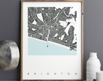 Map Art Prints - Brighton Map Art Print - City Maps - Limited Edition Prints - Fine Art Prints