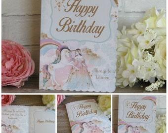 1 Unicorn Princess Happy Birthday Card