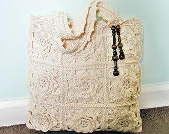 Handmade cream crochet bag, summer bag, tote, market bag, beach bag, granny square