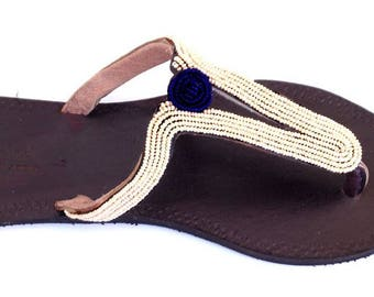 Elegant Beaded Leather Sandals, Pearl/Navy, Handmade in Tanzania - Second Quality