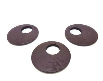 10 pendants wooden circles round 4.9 cm Brown