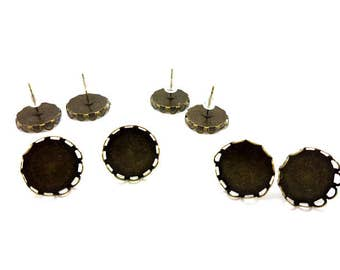 10 ears jagged bronze tray cabochon 14mm chips