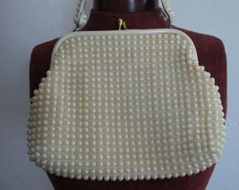 VINTAGE Grandee BEADS Mid Century HANDBAG. Ivory color, Beaded handle, Lucite frame purse.