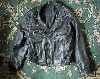 Vintage Black Leather Biker Jacket Mens Extra Large XL Womens XXL / Black Leather Motorcycle Jacket Lined Moto Racing USA 80s 90s Punk