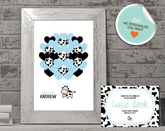 Cow Baby Shower Guest Book, Cow Guest Book, Blue, Black | DIY