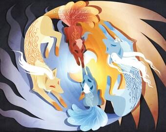 Ninetales & Vulpix Print