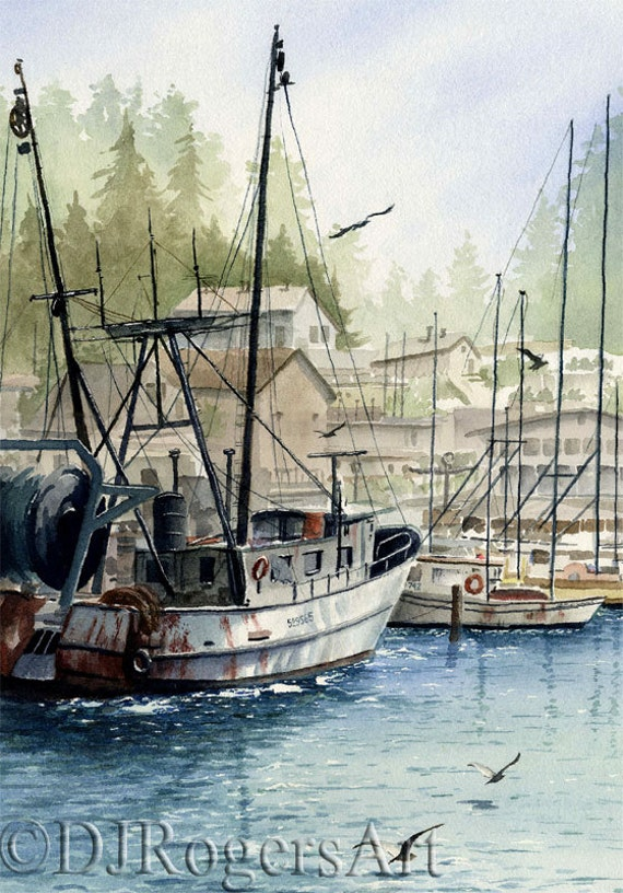 Fishing boat art print watercolor painting signed by for Fishing boat painting