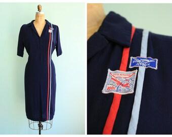 RESERVED || Vintage 1940's French Par Avion Air Mail Dress | Size Large