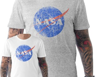 NASA Space Astronaut Retro Geek Nerd Distressed Print T Shirt Small to XXL
