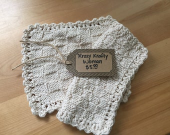 2pc Knitted Dish Coths or Wash Cloths = Size 81/2X81/2
