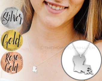 Louisiana State Necklace - I love New Orleans, I heart Louisiana, State of Louisiana charm
