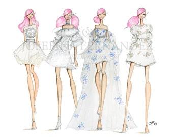 "Fashion illustration print, ""Squad"", Fashion sketch art,Fashion art print,Fashion illustration sketch,Couture sketch, fashion art watercolor"