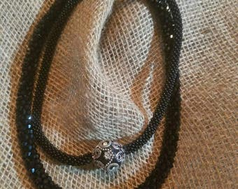 Black crystal focal bead necklace