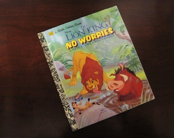 The Lion King - No Worries - A New Story About Simba - Vintage Children's Little Golden Book – 107-97 – Walt Disney