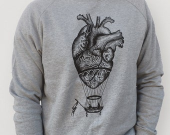 MEN'S SWEATER, anatomical heart print, hot air balloon, man sweatshirt, man's jumper, steampunk clothing, alternative clothing, oddities