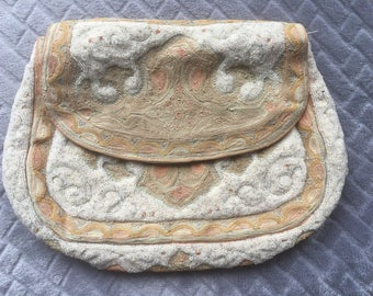 Vintage French Embroidery Beaded Purse/Handbag/Antique Wedding/1920s/Tiny Beading/Oriental Pattern