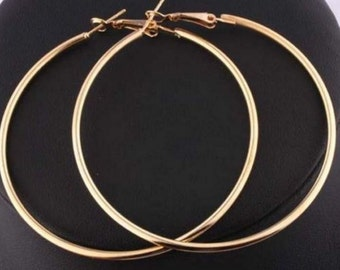 Large gold hoop earrings solid 18k real yellow gold