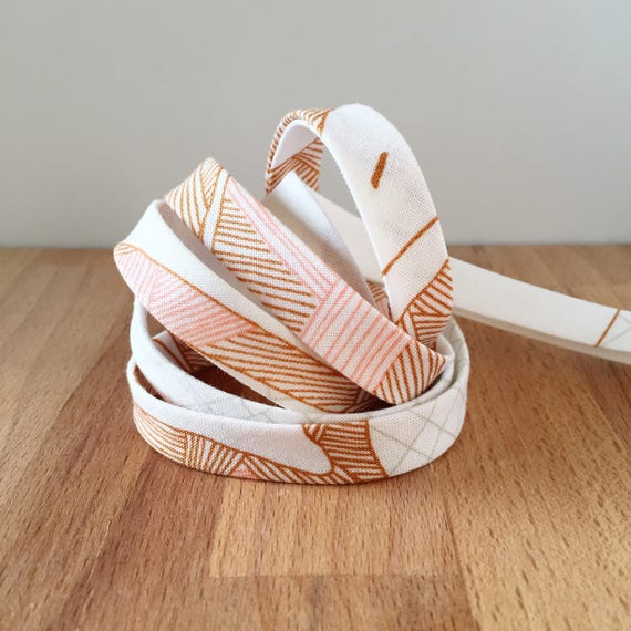 "Bias Tape- Carolyn Friedlander Carkai Peach, Gray and Mustard Brown Grid on White cotton- 1/2"" double-fold binding- 3 yard roll"