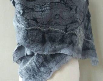 felted scarf, shawl, scarf, felt handgevilte bohemian chic scarf, shabby chic, mother's day