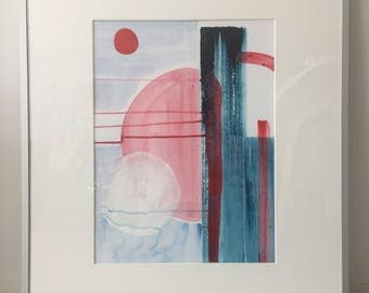 Minimal abstract art to decorate your modern interior. Original painting, powerful art.