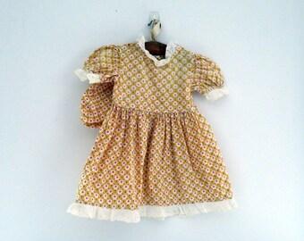 """Vintage Doll Dress Fits 18"""" Doll Antique Calico Doll Dress Handmade Doll Dress c. 1940 Vintage Cotton Dress & Bonnet Primitive Country Decor"""