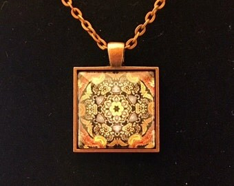 Damascus square glass pendant necklace (JPSq1-B6)