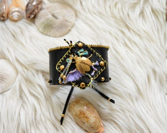 "Beautiful cuff ""BOHO//CHIC Inspired"" Buffalo Leather, Pressions, Laiton beads, Golden gloves, Laiton beetle, DMC Threads, Swarowski crystal"