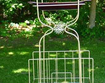 Vintage Mid Century Smoking Stand/Magazine Rack w/ Original Pfaltzgraff Ashtray