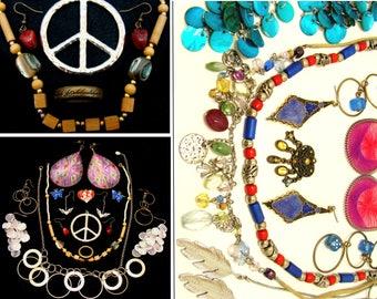 Vintage jewelry lot-Old 90's jewelry lot-vintage 1990's jewelry-90's necklace-1990s jewelry bundle