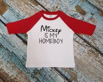 Mickey is my homeboy raglan shirt, mickey is my homeboy shirt, mickey shirt, mickey mouse, Minnie mouse, disney shirt, disney vacation shirt