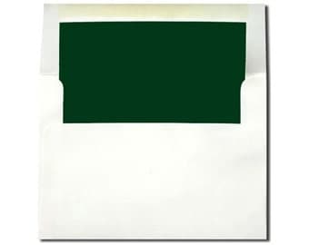 20 A7 & A2 White with Hunter Green Lined Envelopes - A2 Size ON SALE