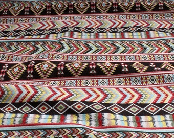 Fabric cotton polyester tapestry Inca - style 280 cm width colourful multicoloured
