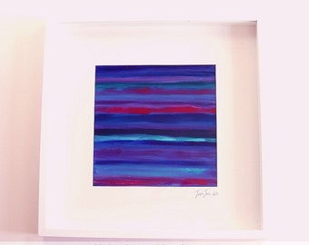 Framed original artwork. Acrylic painting. Title: 'Stripey Abstract' by Jessie Jones.