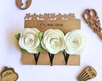 White flower Bridal Bobby Pins/Choose your colors/Floral Accessories/Hair Pins/Bridal Hair/Bridesmaid Favors/Girls Flower Hair Clips
