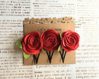 Set of 3 red rose flower Bobby Pins/Choose your colors/Floral Accessories/Hair Pins/Bridal Hair/Bridesmaid Favors/Girls Flower Hair Clips