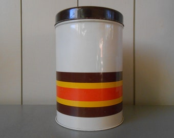 Vintage 1970s IMPALA Kitchen Tin Canister Container. Made in Holland. Dutch Design. Retro Colors Yellow Orange Brown Striped Stripes Mod