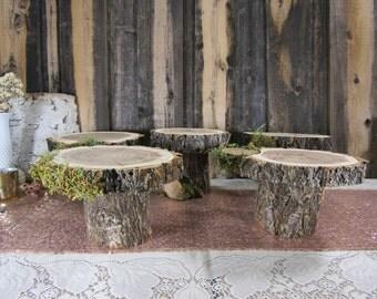 Adorable Rustic Pedestal Set~ 5 Stands ~ Rustic Wedding, Centerpiece, Dessert Buffet, Pie Stands ~ Summer Wedding ~ Spring Wedding