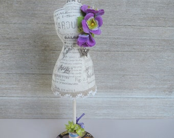 Mannequin  Dress Form Pincushion Pin Keeper Shabby Chic Handmade Decor Lady Butterfly