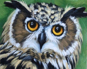 Great horned owl - owl face -  owl painting - canvas print - owl painting
