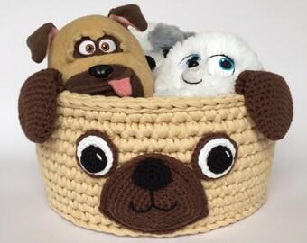 Kids Storage Basket, Dog Lover Gift, Pug Crochet Basket, Nursery Storage,  Dog