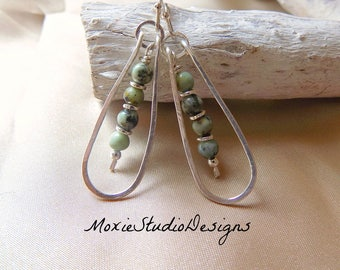 African Turquoise Earrings, Light weight earrings, Boho Earrings, Dangle Earrings, Artisan Earrings, Boho Jewelry, Silver Artisan Earrings