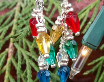 Christmas Lights Dangle Earrings, Swarovski Crystal Dangle Earrings, Women's Earrings, Christmas Earrings, Christmas Tre Lights Earrings