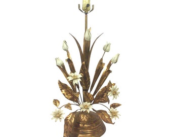 Italian Gilt Tole Floral Lamp