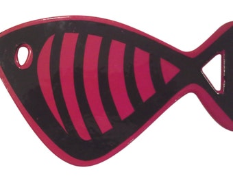 Danish Modern Red Enamel and Cast Iron Fish Trivet