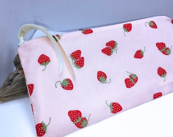 Strawberry Wet Bag, PUL Lining, Toiletry Bag, Quick Dry Design, Soft-Sided Folding Waterproof Pouch, Reusable Cloth Pad Pouch