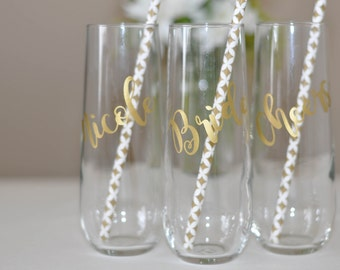Stemless Champagne Flute Glass, Wedding Gift for Bride Bridesmaid or Bachelorette Party