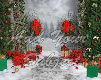 Digital Christmas Photo Backdrop Download Background Scene