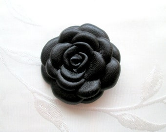 Black Leather Rose Leather Brooch Leather Flower Brooch For Woman Gift Idea For Her Leather Jewelry