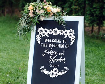 Rustic Wedding Decal Floral Wedding Decor Vintage Wedding Decor Vinyl Decal Personalized Chalkboard Decal Mr Mrs Decal DIY Wedding Decal